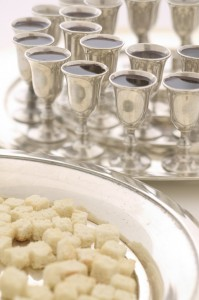 Trays of Bread and Wine for Communion