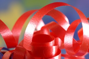 festive ribbon details with blurred background